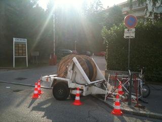 Travaux de fibrage de la rue